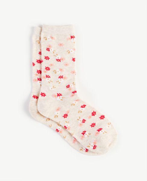 Ann Taylor Floral Crew Socks