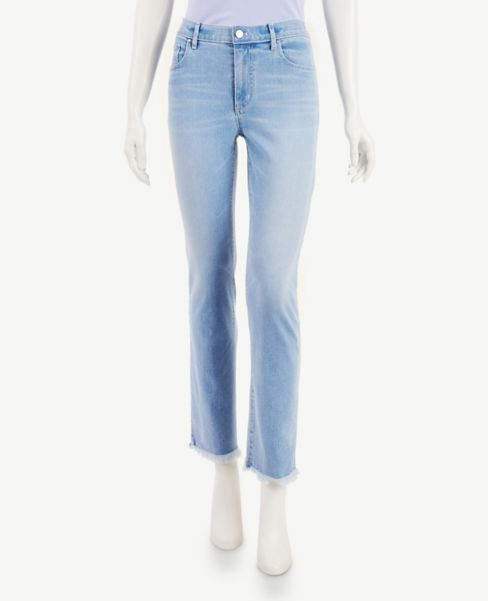 Ann Taylor Straight Leg Jeans in Classic Light Indigo Wash