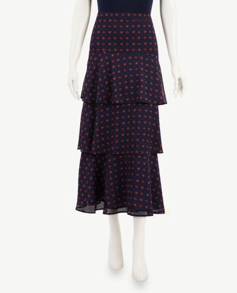 Ann Taylor Bandana Floral Tiered Maxi Skirt