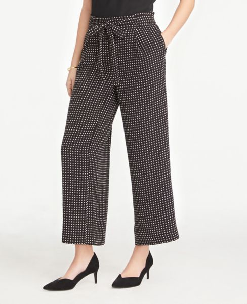 Ann Taylor Dotted Tie Waist Ankle Pants