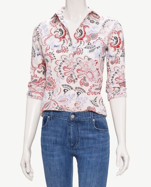 Ann Taylor Paisley Roll Sleeve Button Down Shirt