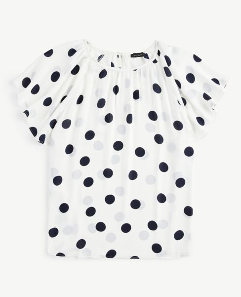 Ann Taylor Dotted Flutter Sleeve Top