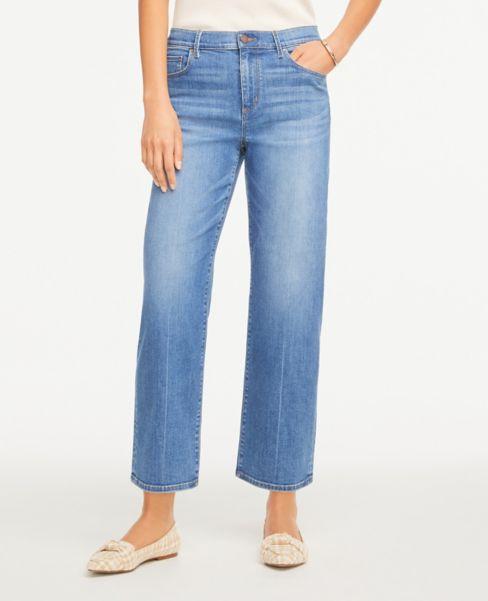 Ann Taylor Petite Wide Leg Jeans in Mid Indigo Wash