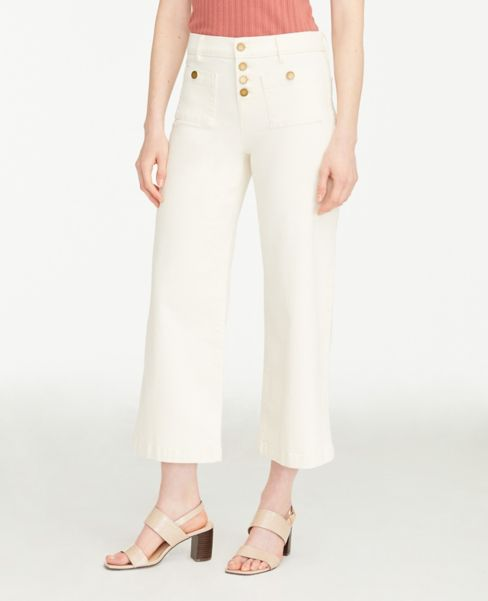 Ann Taylor Button Front Wide Leg Crop Jeans in Delicate Ecru