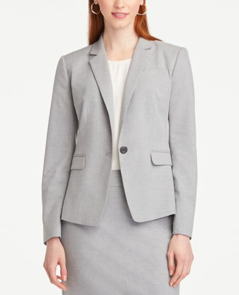 Ann Taylor Petite One Button Jacket in Light Grey