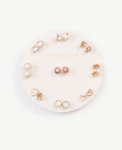 Ann Taylor Heart Stud Earring Set