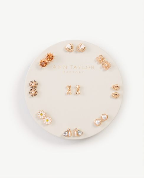Ann Taylor Floral Bow Stud Earring Set