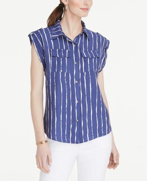 Ann Taylor Striped Tab Sleeve Shirt