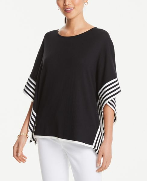 Ann Taylor Striped Border Poncho