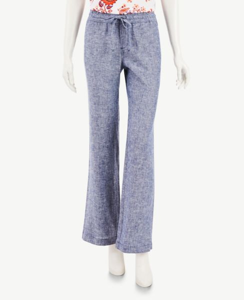Ann Taylor Chambray Linen Blend Drawstring Pants