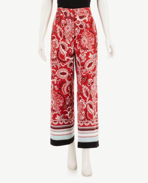 Ann Taylor Paisley Wide Leg Crop Pants