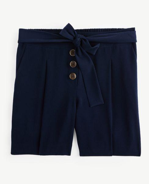 Ann Taylor Button Trim Tie Waist Shorts