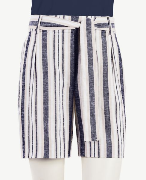 Ann Taylor Striped Tie Waist Linen Blend Shorts