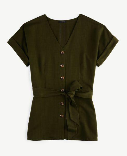 Ann Taylor Soft Tie Waist Tunic Shirt