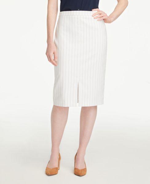 Ann Taylor Pinstriped Front Slit Pencil Skirt