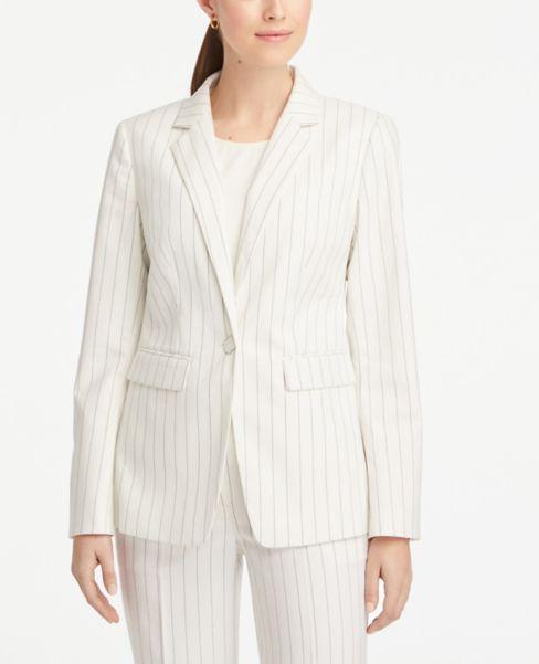 Ann Taylor Petite Striped One Button Jacket