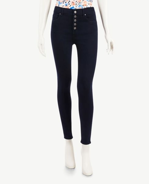 Ann Taylor Button Front Skinny Jeans in Staple Mid Indigo Wash