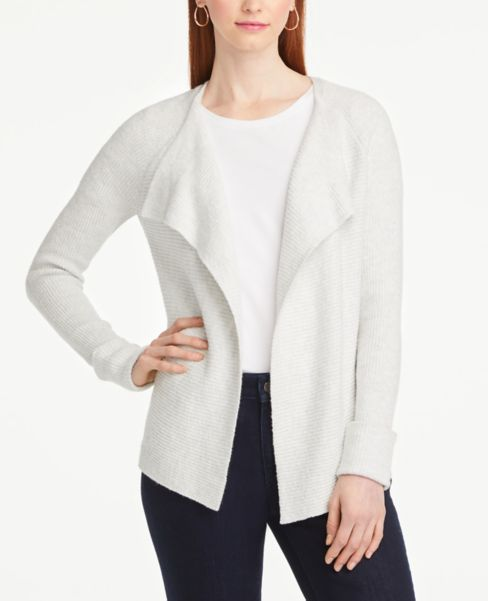 Ann Taylor Stitched Open Cardigan