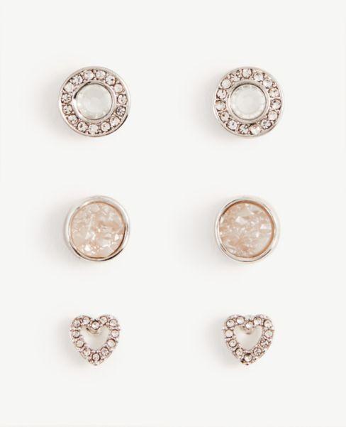 Ann Taylor Pave Heart Stud Earring Set
