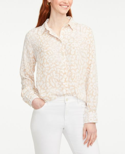 Ann Taylor Leopard Print Button Down Shirt