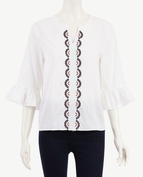 Ann Taylor Embroidered Paisley Flounce Sleeve Top