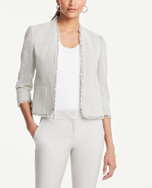 Ann Taylor Fringe Tweed Bolero Jacket