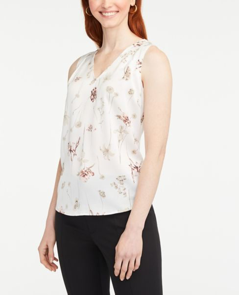 Ann Taylor Botanical V-Neck Mixed Media Shell