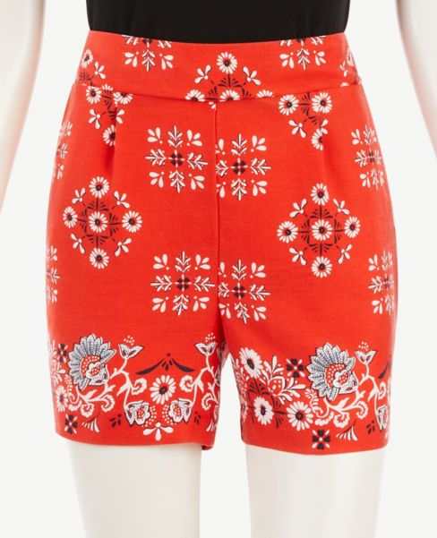 Ann Taylor Bandana Floral Pull On Shorts