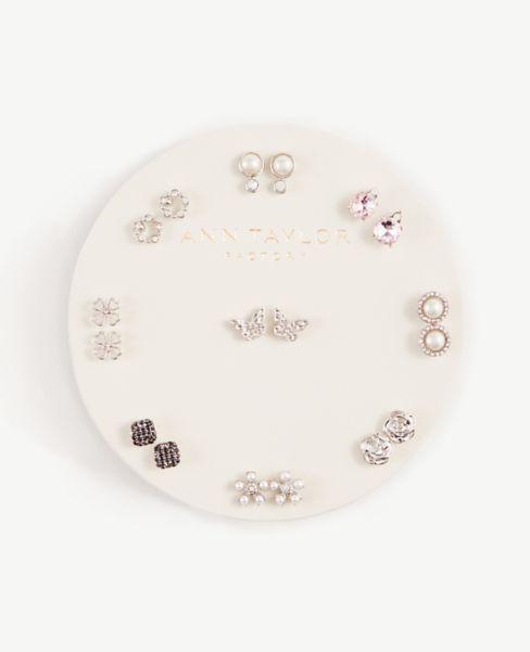 Ann Taylor Pearlized Sparkle Stud Earring Set