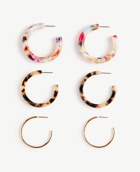 Ann Taylor Mixed Tortoiseshell Print Hoop Earring Set