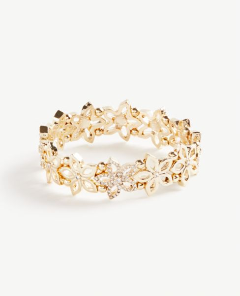 Ann Taylor Floral Sparkle Stretch Bracelet