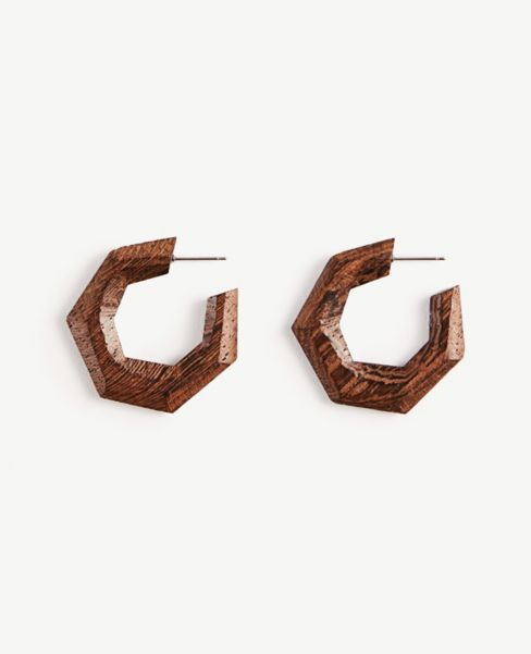 Ann Taylor Geo Wood Hoop Earrings