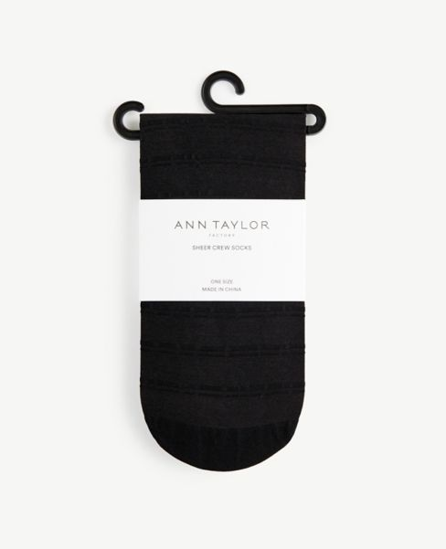 Ann Taylor Stripe Sheer Crew Socks