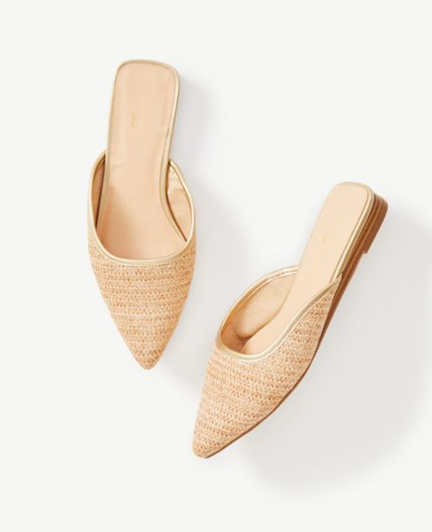 Ann Taylor Straw Slip On Mules