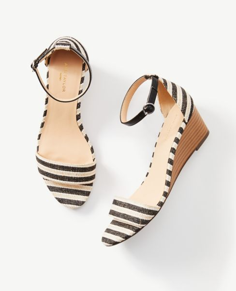 Ann Taylor Striped Ankle Strap Wedge Sandals