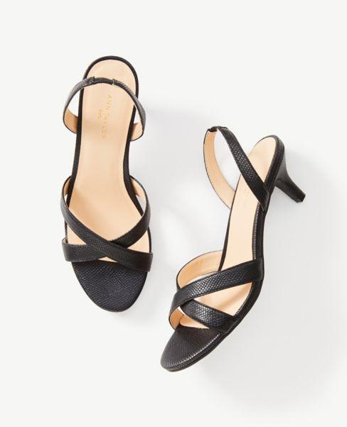 Ann Taylor Embossed Slingback Kitten Heel Sandals