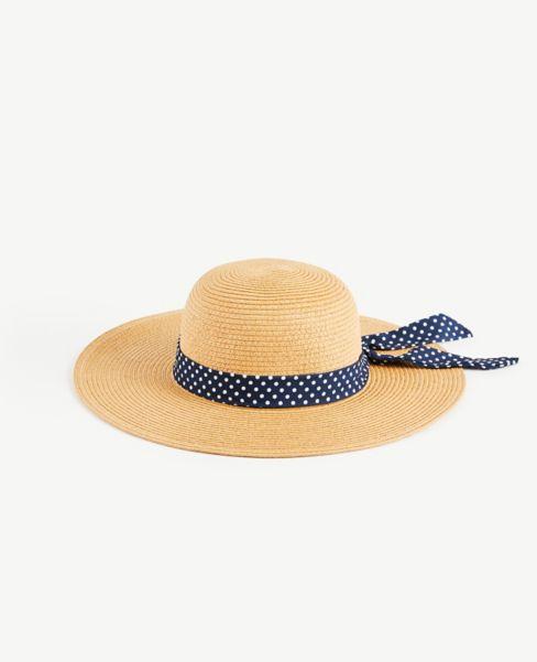 Ann Taylor Polka Dot Ribbon Straw Hat