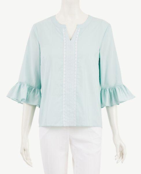 Ann Taylor Embroidered Flounce Sleeve Top