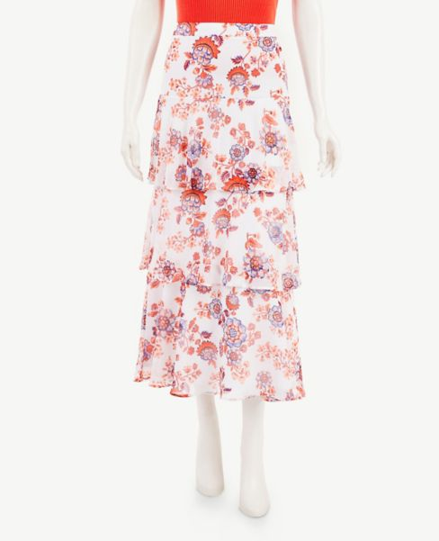 Ann Taylor Petite Floral Tiered Maxi Skirt