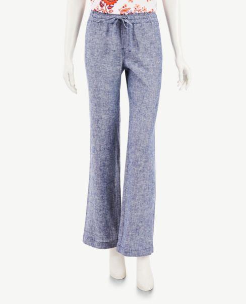 Ann Taylor Petite Chambray Linen Blend Drawstring Pants