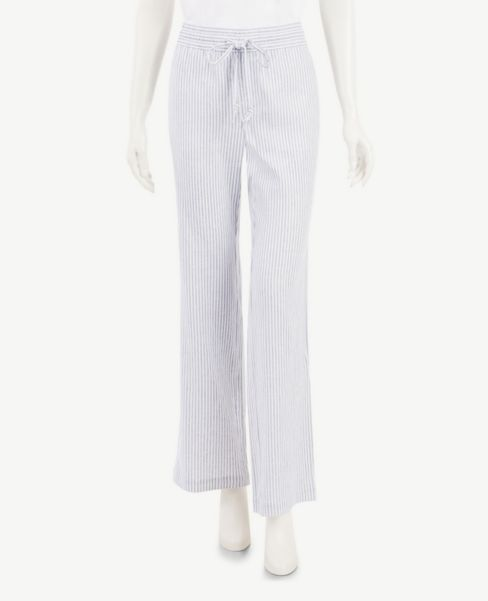 Ann Taylor Petite Herringbone Striped Linen Blend Drawstring Pants