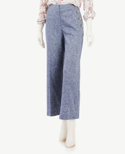 Ann Taylor Petite Chambray Slim Wide Leg Sailor Pants