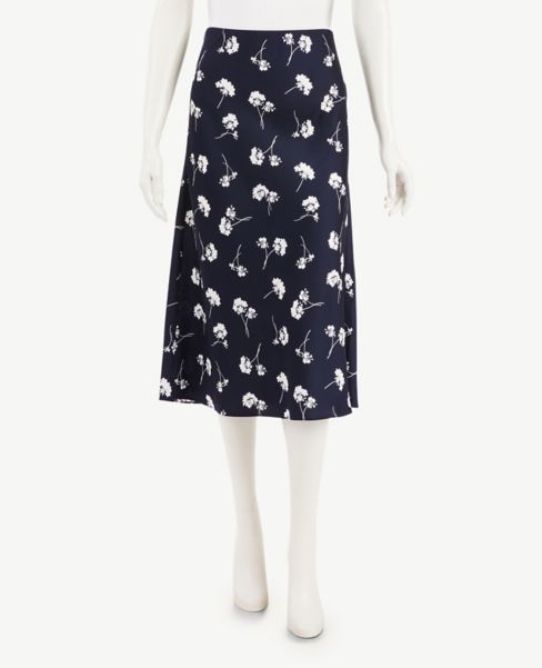 Ann Taylor Floral Pull On Midi Skirt