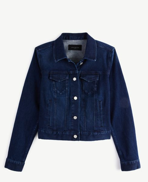 Ann Taylor Denim Jacket in Dark Indigo Wash