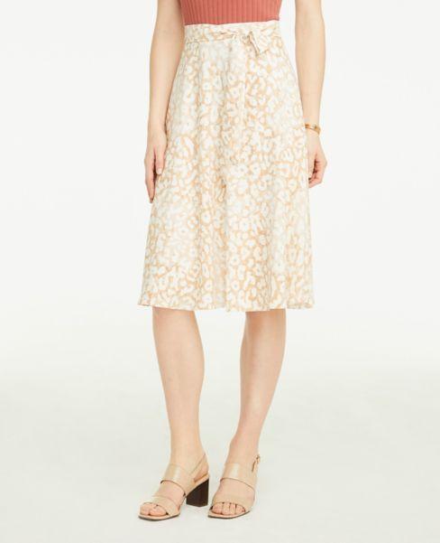 Ann Taylor Leopard Print Tie Waist Skirt