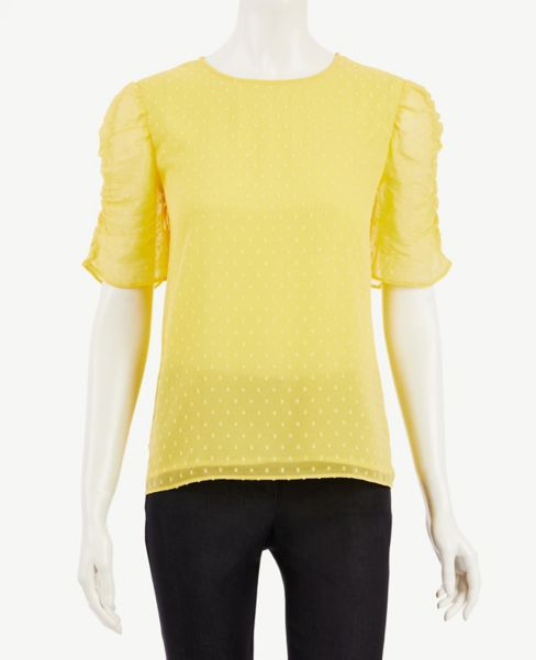 Ann Taylor Dotted Ruched Sleeve Top