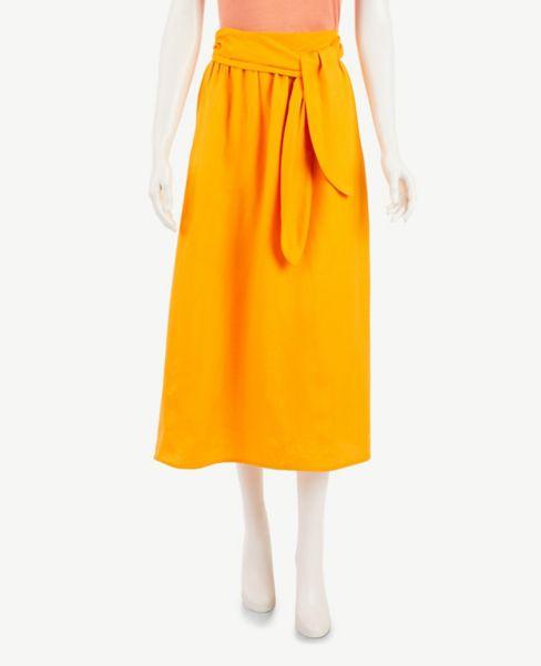 Ann Taylor Petite Tie Waist Pocket Midi Skirt
