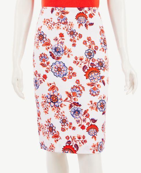 Ann Taylor Petite Floral Long Pencil Skirt