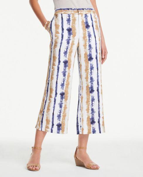 Ann Taylor Striped Soft Crop Pants