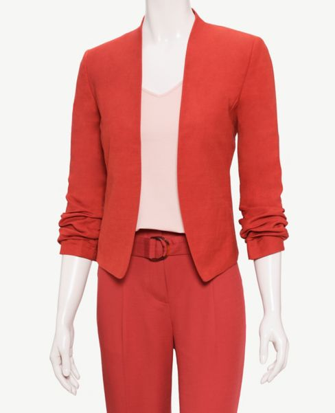 Ann Taylor Cinched Sleeve Linen Blend Jacket